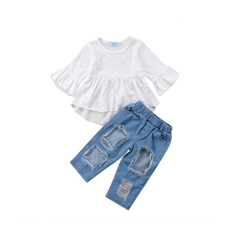 2PCS Fashion Casual Newborn Baby Girls Cotton Long Flare Sleeve O-Neck Pullover White Shirt Tops Ripped Jeans Outfit Spring Fall fashion 3d printed embroidery jeans men biker ripped slim full length pants cotton cargo harem casual trousers vaqueros hombre