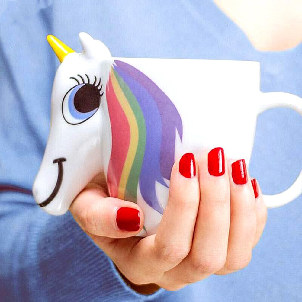 300ML Cartoon Unicorn Mug 3D Color Changing mugs Ceramic milk coffee cup for tea travel Discoloration Cups unicorn gifts