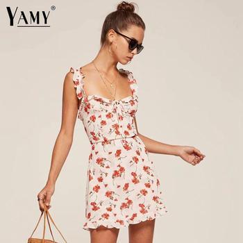 70cbd28484d Летнее цветочное бохо платье женское шифоновое платье сексуальное с  открытой спиной оборки пляжное платье повседневное Желтое Белое плать.