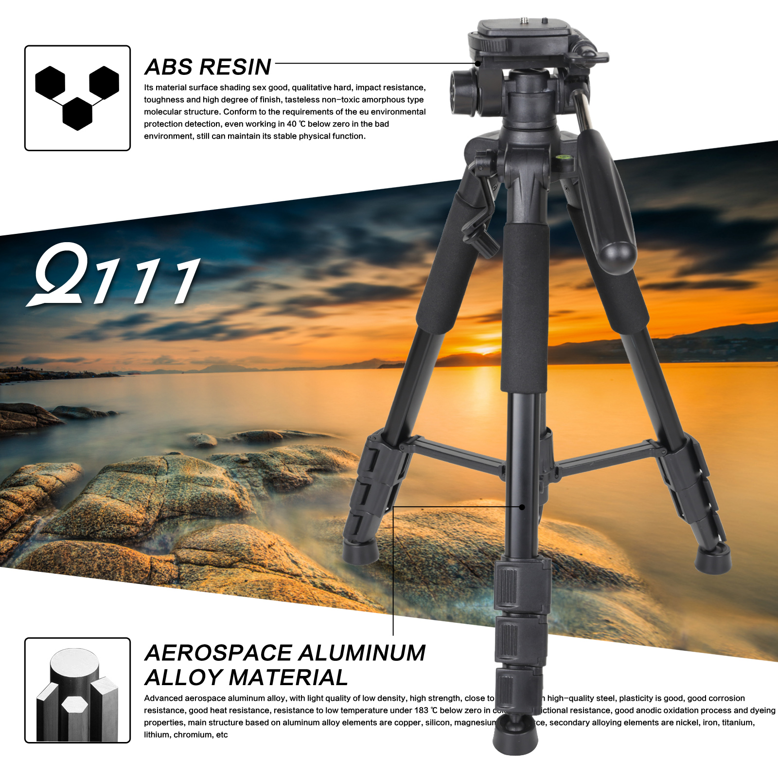 ZOMEI Q111 Professional Portable Lightweight Travel Aluminum Camera Tripod Pan Head For Smartphone SLR DSLR Digital Camera