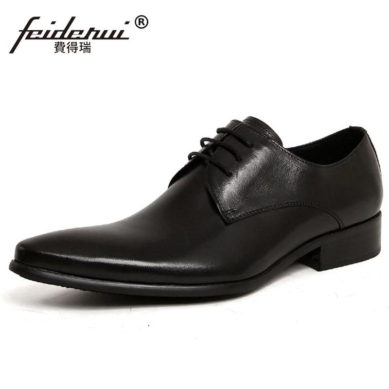 US $80.0  Neue Ankunft Italienische Designer Mann Brautkleid Schuhe Aus Echtem Leder Hochzeit Oxfords Spitzen Derby herren Business Schuhe YD32 in