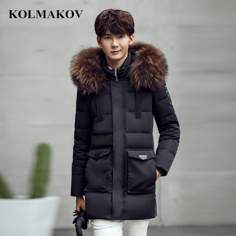 KOLMAKOV 2018 New Winter Mens Duck   Down   Jackets Men Cold Protective Top Quality Youth Thickening Fur Hooded   Down     Coats   M-XXXL
