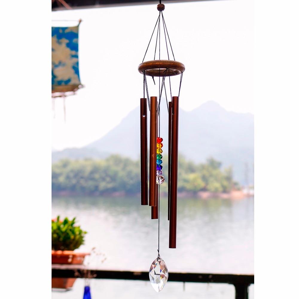 H & D 18,9 pulgadas campanas de viento al aire libre gran tono profundo-Chakra Suncatcher al aire libre viento para jardín y patio Decoración