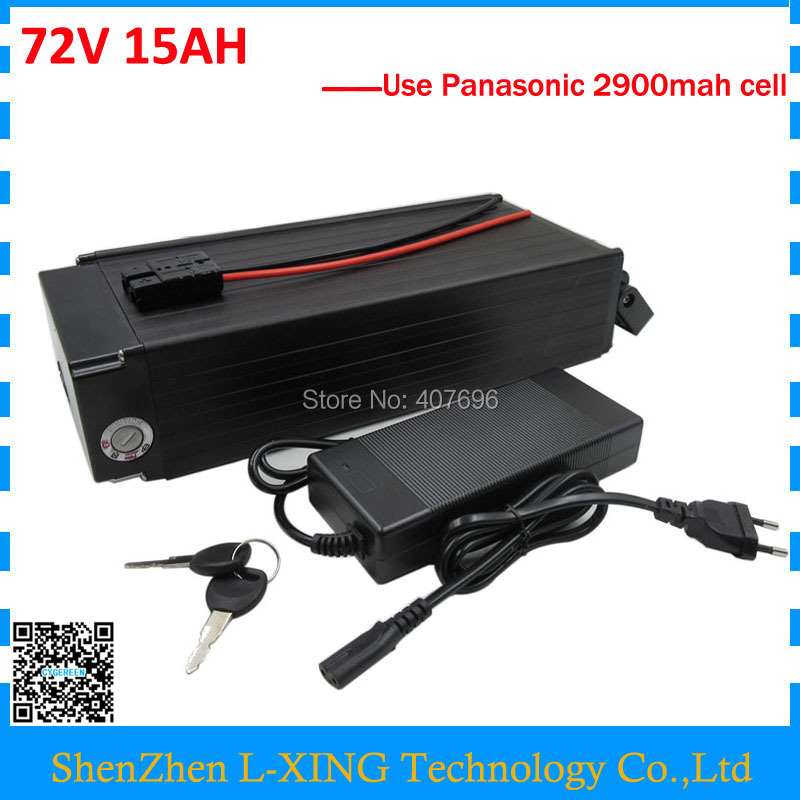 Free customs Fee 72V 15AH rear rack battery 72V 14.5AH electric bike Lithium battery use Panasonic 2900mah cell 40A BMS free customs taxes and shipping balance scooter home solar system lithium rechargable lifepo4 battery pack 12v 100ah with bms