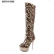 NEMAONE Damen thin High Heel kniehohe Stiefel Herbst Martin Stiefel Fashion leopard Schuhe Warm Botas Schuhe Mit Hohen Absätzen 32-43