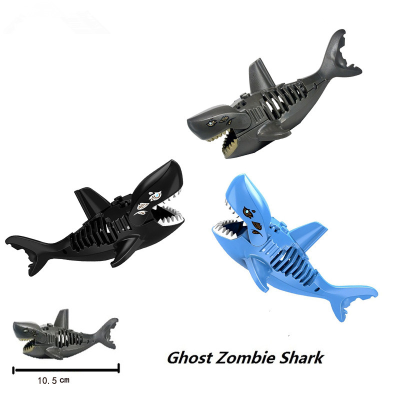 3 Colors Ghost Zombie Shark Action Bricks Single Sale Pirates of the Caribbean Building Bricks Toys Legoingly For Children 804pcs black pearl ship bricks sale pirates of the caribbean building blocks toys for children compatible with legoingly city
