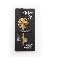 Marcapáginas con forma de llave de la suerte, marcapáginas de Metal dorado, regalo, papelería, suministros escolares, oficina, A6641, 40 unids/lote