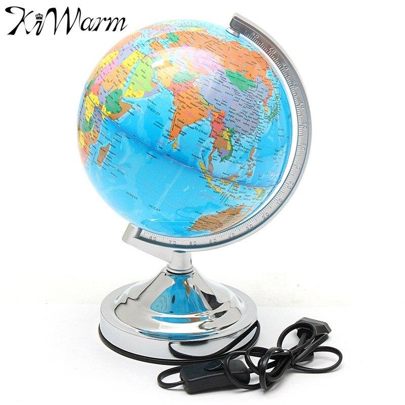 kiwarm unid w mesa giratoria llev la lmpara globo terrqueo nios geografa mapa tierra