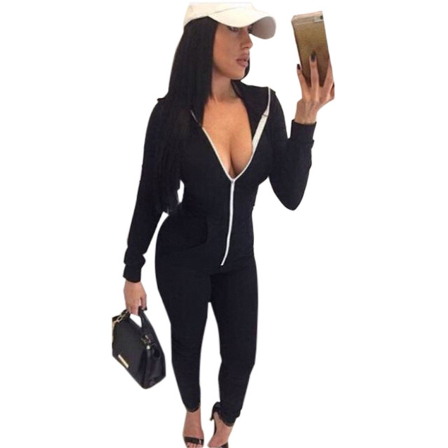 Spring Front Zipper Hooded Women Rompers Jumpsuit Casual Long Sleeve Skinny Overalls Club Playsuits Plus Size 2017 New Clothing