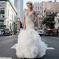 Vestido De Noiva 2015 De moda Vestido De boda Appliqued sirena Vestido De boda atractivo Robe De Mariage con Chael escrito De tren