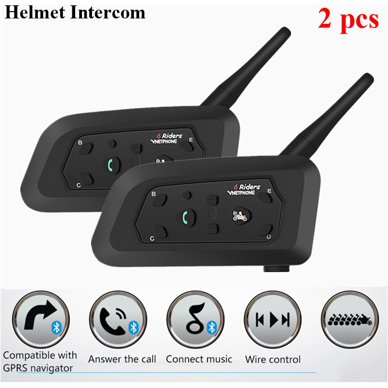 2pcs Universal Helmet Headsets Motorcycle Helmet Intercom Intercomunicador 1200M Wireless Bluetooth Interphone For 6 Riders GPS