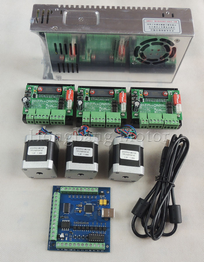 Cnc router usb 3 axis kit 3pcs tb6560 stepper driver for Usb stepper motor controller