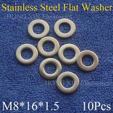цена на 10Pcs Large M8*16*1.5mm Stainless Steel Flat Washer Price High Quality Flat Pad Plain Washer Ring Washer
