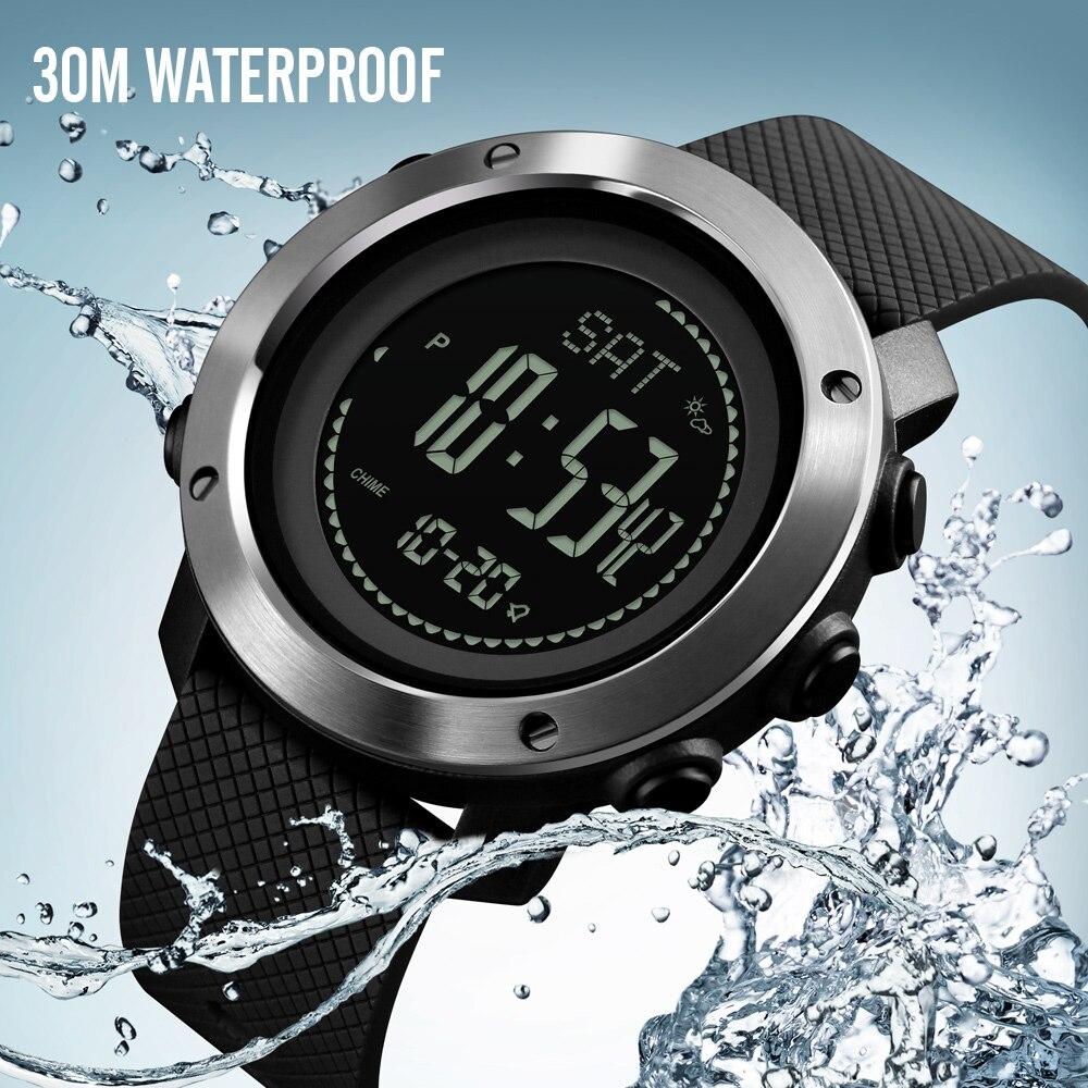 SKMEI deportes al aire libre relojes de moda brújula altímetro barómetro termómetro reloj Digital hombres senderismo relojes de pulsera reloj