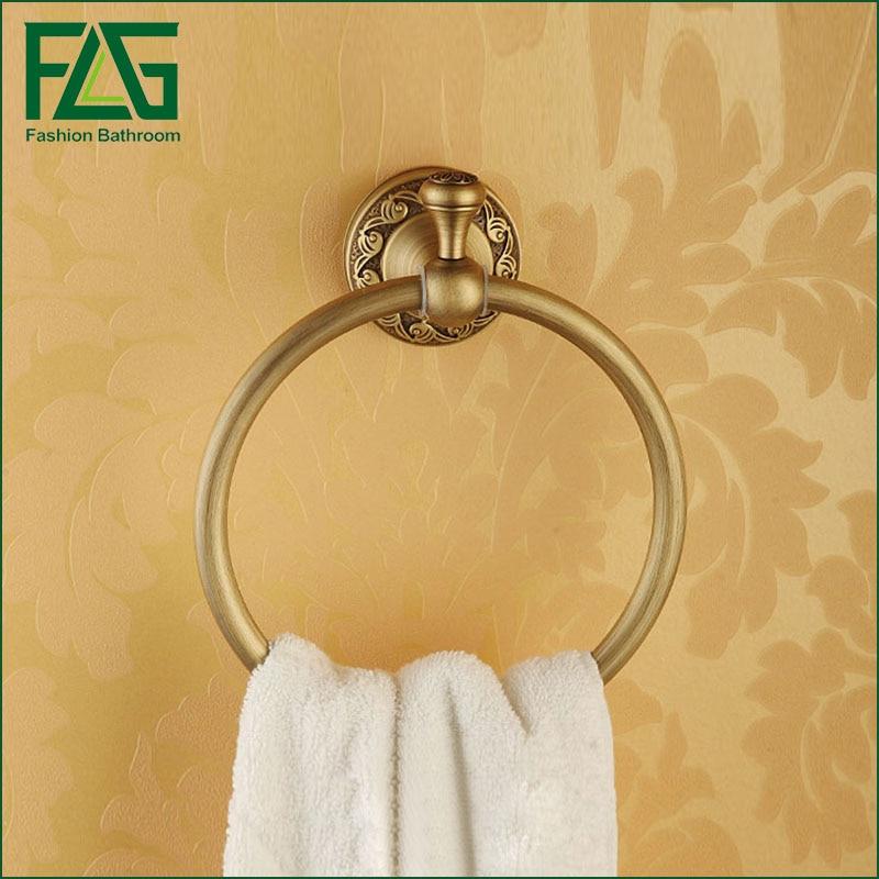 FLG Bathroom Towel Holder Wall Mounted Bathroom Towel Ring Ceramic Antique  Brass Towel Hanger Ring Holder Bath Furniture