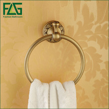 Bathroom towel holder Wall Mounted Towel Ring Ceramic Antique Brass Hanger Holder bath furniture