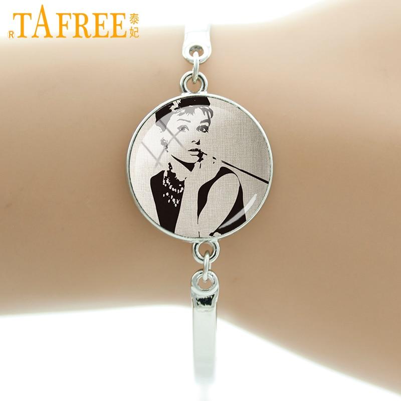 TAFREE Super Star Stock Vector Bracelets beautiful Marilyn Hepburn bracelet art picture glass send for fans jewelry A677 ...