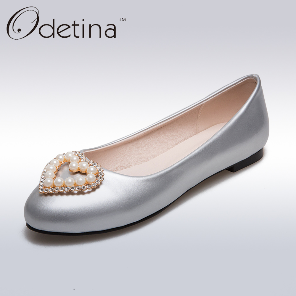 Odetina 2017 Women Candy Color Flat Shoes Patent Leather Loafers Ladies Ballet Flats Rhinestone Pearls Slip