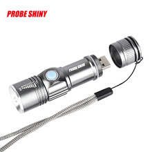 PROBE SHINY USB Handy Powerful LED Flashlight Rechargeable Torch usb Flash Light Bike Pocket LED Zoomable