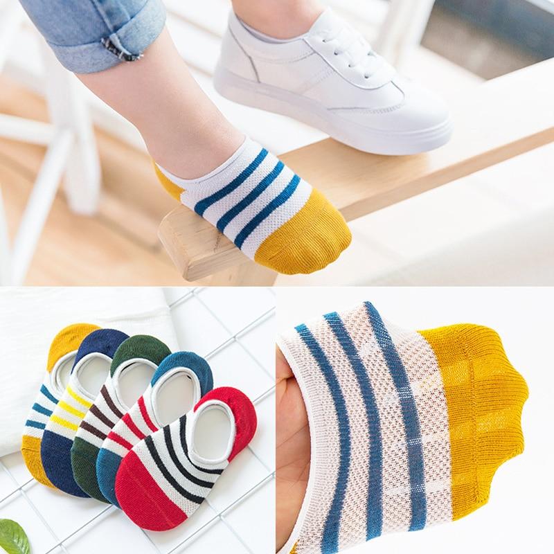 Children Socks 2017 New Summer 2-11 Years Boys Socks 5 Pairs / Lot Cotton Mesh Socks Three Horizontal Lines Pattern Kids Socks