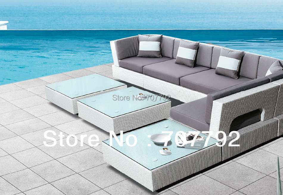 2017 Top Sale Patio Furniture White Rattan Sectional Sofa Set(China)