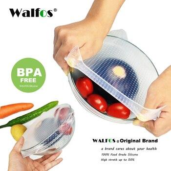 WALFOS alimentos grado mantener La comida fresca envoltura reutilizable super stick de silicona envolturas de alimentos sellado tapa de vacío tapa de estiramiento