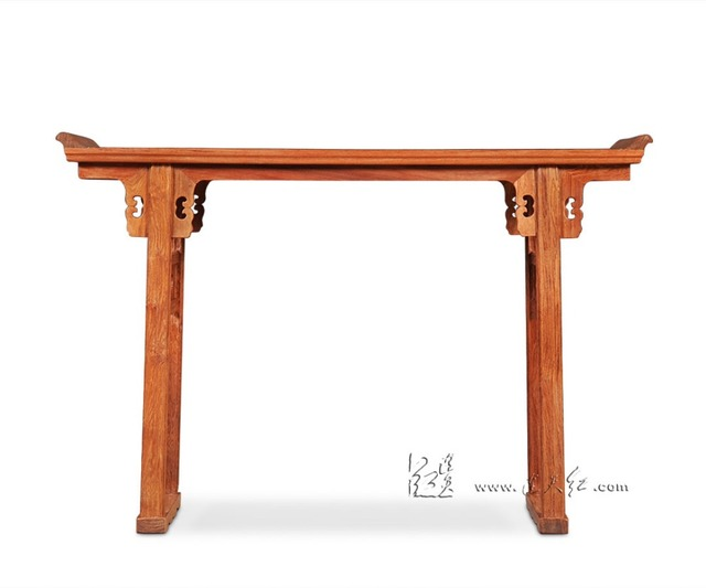 Chinese Traditional Redwood Furniture Cross Opening Light Head Desk Ming&Qing With Top Flanges Burma Rosewood Low Console Table