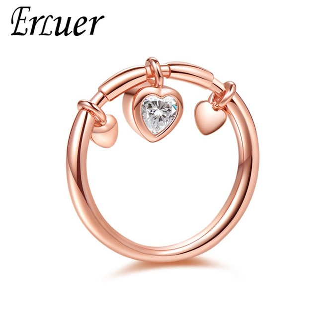 ERLUER rings set for women Romantic wedding heart shaped jewelry Girl rose gold crystal Zircon engagement ring fasion jewellery