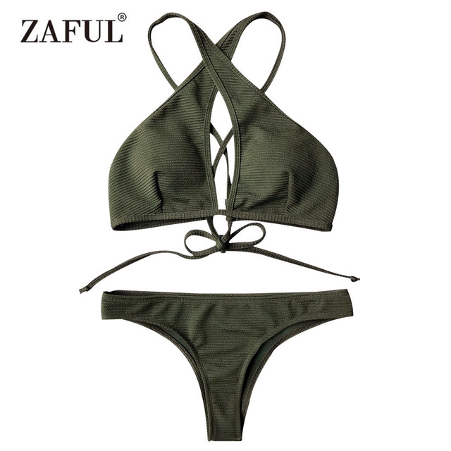 f053ef5161 Zaful Swimwear For Women 2018 Keyhole Rib Cotton Elastic Texture Wrap Bikini  Set Polyester Straps Bathing Suit Maillot De Bain