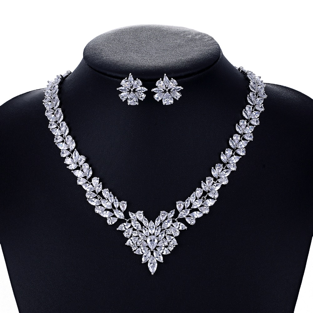 Crystal CZ Zircon Bridal Wedding Necklace Earring Set Jewelry Sets for Women Accessories CN10009Crystal CZ Zircon Bridal Wedding Necklace Earring Set Jewelry Sets for Women Accessories CN10009