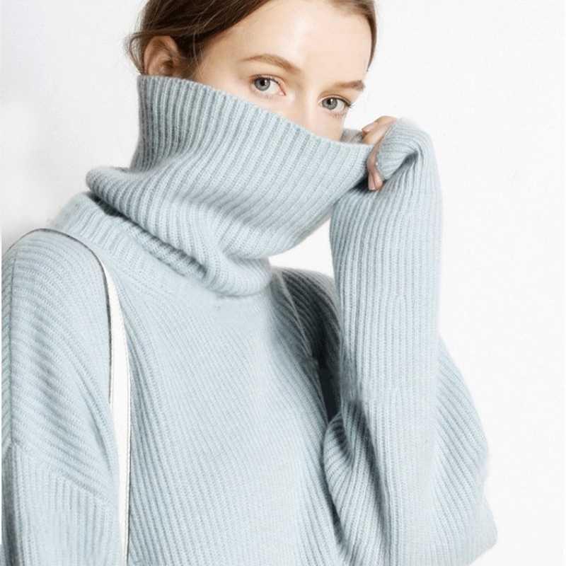 2019 가을과 겨울 두꺼운 높은 칼라 풀오버 여성 느슨한 캐시미어 스웨터 패션 따뜻한 대형 니트 bottoming 스웨터