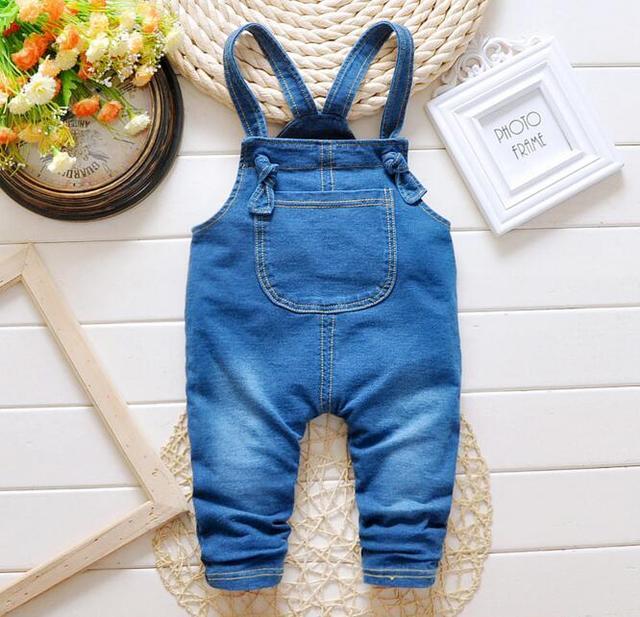 Calças de Brim do bebê Macacão 2016 Primavera Novos Casual Denim Macacão Jeans Crianças Calças Compridas de Algodão One-Pieces Macacões Roupas