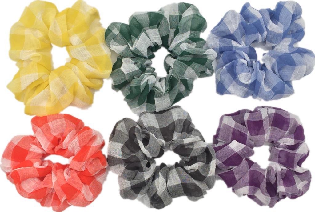 6 шт/лот Бархатные эластичные резинки для волос, резинки для волос для девочек, не складываются, леопардовые женские большие мелкие блестки из шифона с цветочным рисунком - Цвет: PJ095-A-6PCS