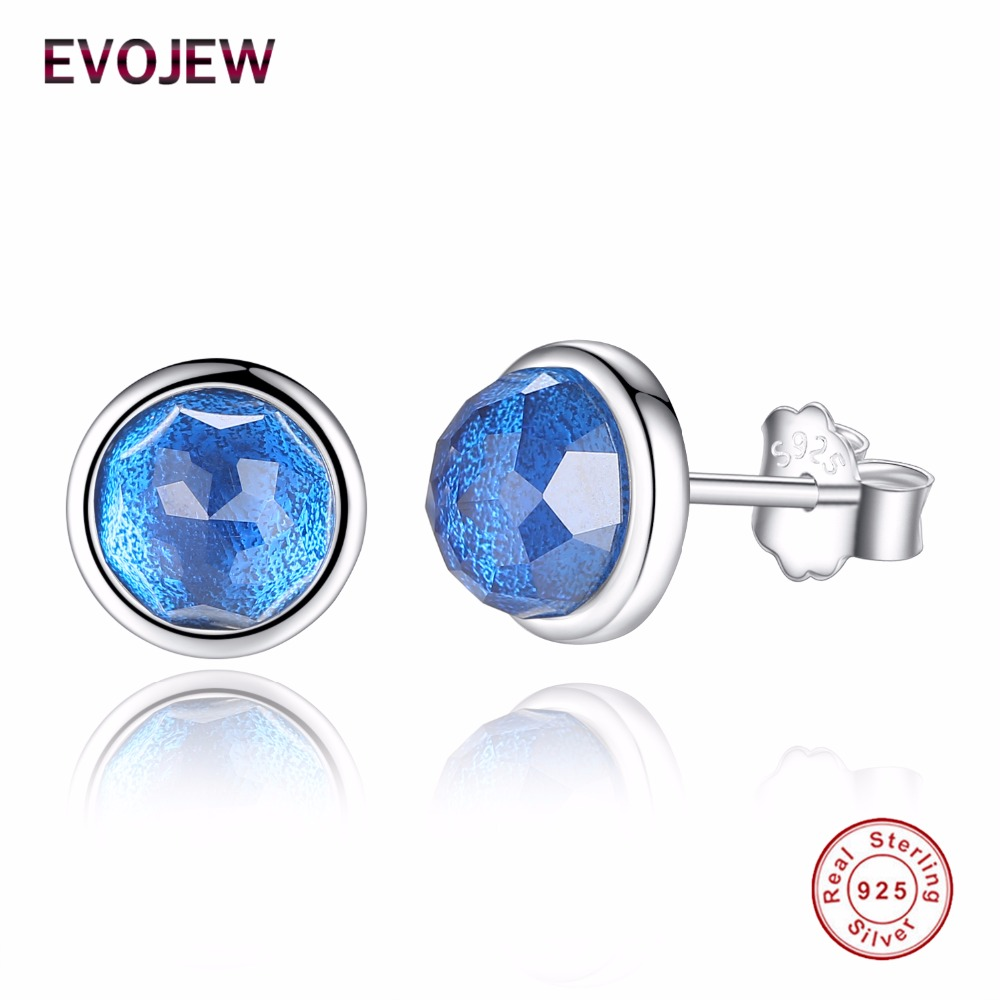 Evojew Blue Crystal December Birthstone Stud Earrings Pure 925 Sterling  Silver Earrings For Women Jewelry Party
