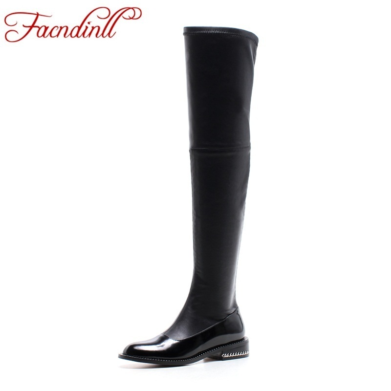 FACNDINLL New winter thigh high boots women shoes luxury brand stretch boots leather women over the knee boots chaussures femme luxury purple floral highland sheep suede boots cat out flower spring winter over the knee boots women brand shoes nancyjayjii
