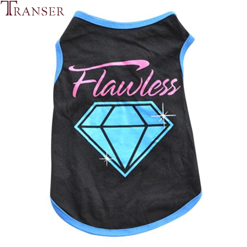 Transer Pet Dog Clothes For Small Dogs Flawless Diamond Print Black Dog Vest Shirt Summer Pet Supply 80118
