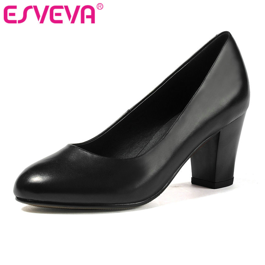 ESVEVA 2017 Women Pumps Round Toe 3/5/7 CM Spring Autumn Shoes Square High Heel Wedding Shoes Real Leather OL Pumps Size 34-42 vigtech home 7 lcd video door phone intercom system kit 700tvl rfid waterproof ir night vision camera free shipping