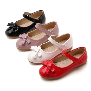 2019New Kids Shoes Girls Spring Autumn Princess Leather shoes Wedding Party for Girl Red black pink White 3 4 5-14T