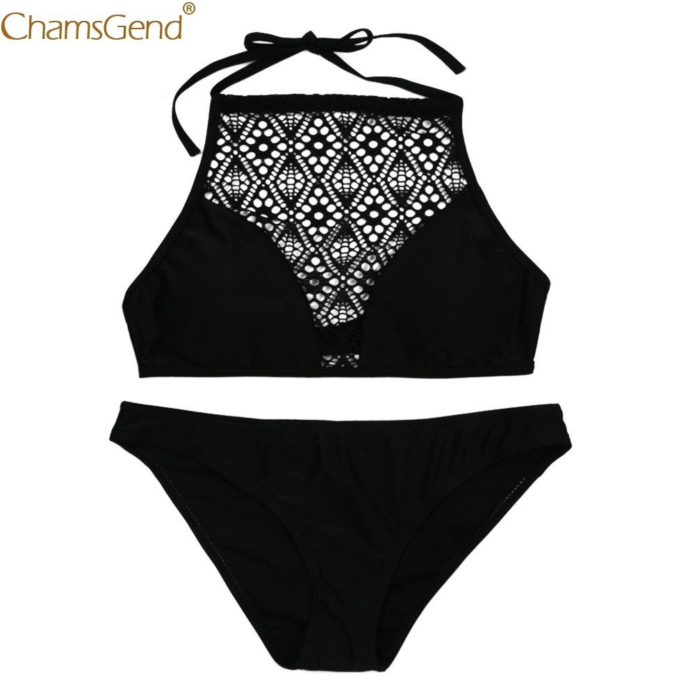 Sexy   Bra     Set   Women Sandy Beach Push Up Vest Top Underwear Panty   Set   Solid Black Low Waist Summer Sexy Causal Polyester Jun18
