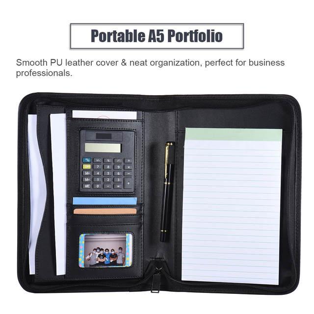 Us 15 99 34 Off Padfolio Pu Leather A5 Portable Business Portfolio Padfolios Folder Doent Case Organizer Portafolios Office In