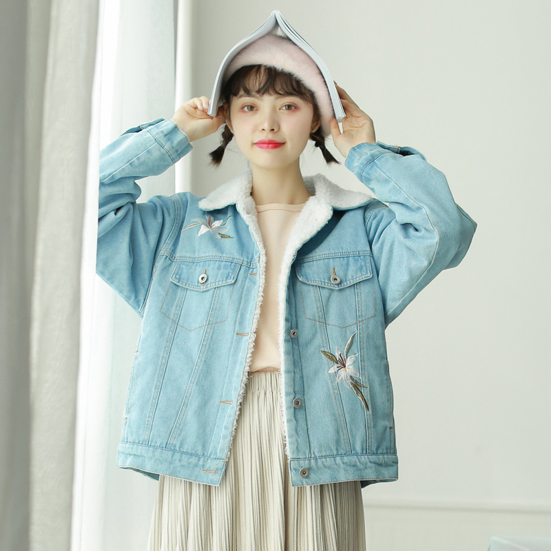 Autumn Outwear Jeans 2018 Jacket Women Coat New Denim Long Winter With Blue Spring Warm Wide Light Sleeves Jean Embroidery qdZC644xw