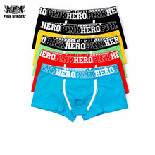 Pink Heroes men underwear wholesale hot Sale  Shorts Underwear Fashion Sexy Men's Cotton Boxers 5 colors Male Underwear Brand