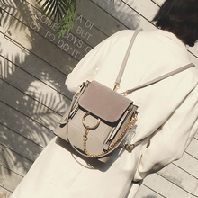 2017 damen Kreis Ring Kette doppel-reißverschluss Nubukleder mini rucksack einfarbigen vintage marke designer frauen kleinen rucksack
