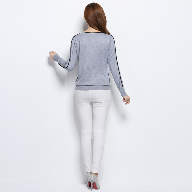 YUNSHUCLOSET 2017 Women Cashmere Blend Sweater V-Neck Pullovers Long Sleeve Jumpers Womens Knitted Sweaters With Color Edge