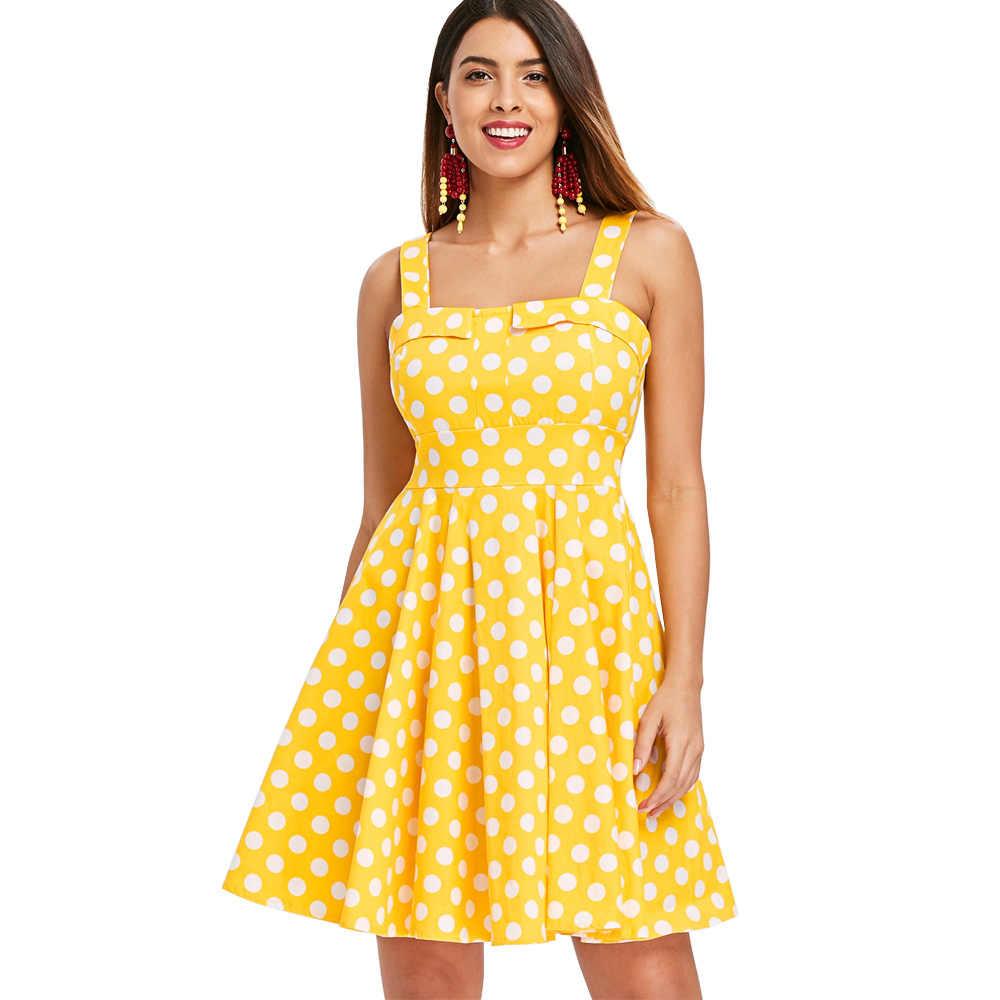 39586764d4 ZAN.STYLE Polka Dot Print Vintage Dress Retro Rockabilly Robe Casual A-Line  Women Dress Elegant Pleated Party Dresses Vestidos