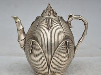 China fengshui silver Corn Maize Bamboo shoots statue yellow Wine Tea Pot Flagon