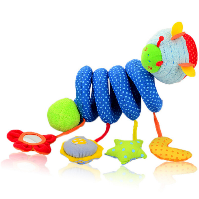Infant Baby Blue Cute Insect Baby Play Toys Activity Spiral Bed & Stroller Toy Set Hanging Bell Crib Rattle Toys For Baby