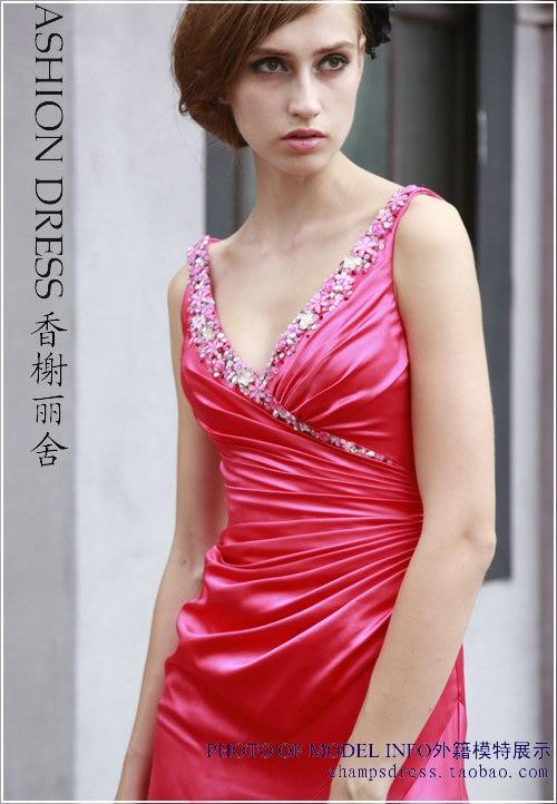 free shipping fashion vestidos red long satin robe de soiree v-neck crystal formales sexy party Graduation   bridesmaid     Dresses