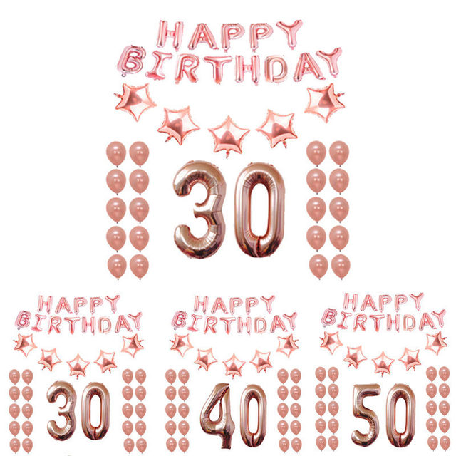 Rose Gold 18th 25th 30th 35th 40th 50th 60th 70th 80th 90th Birthday Balloons Kit Happy