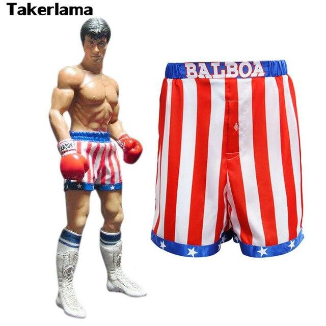 ee235ed57d Rocky Balboa Takerlama Apollo Filme Bandeira Americana Calções de Boxe Robe